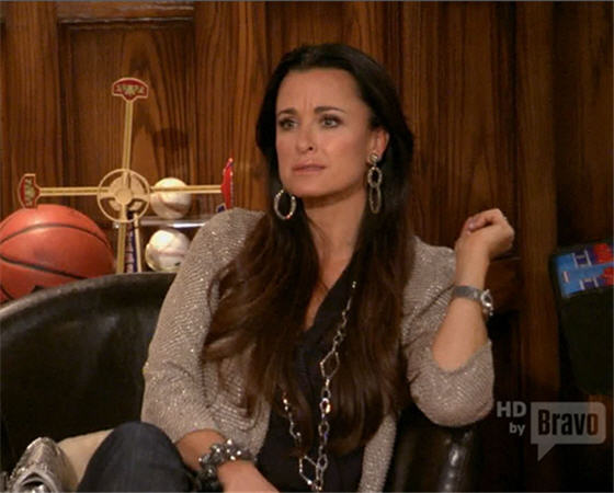 Real Housewives of Beverly Hills Fashion: Kyle Richards' Sparkly Earrings and Beaded Jacket in Season 2, Episode 6