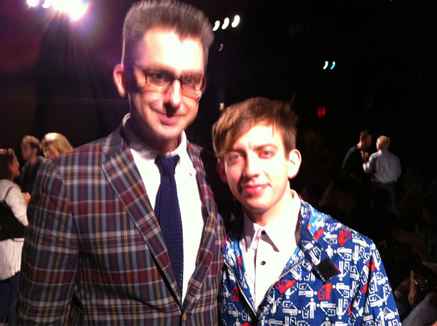 Wacky Coat Face-Off! Kevin McHale vs GQ's Michael Hainey at New York Fashion Week 2011