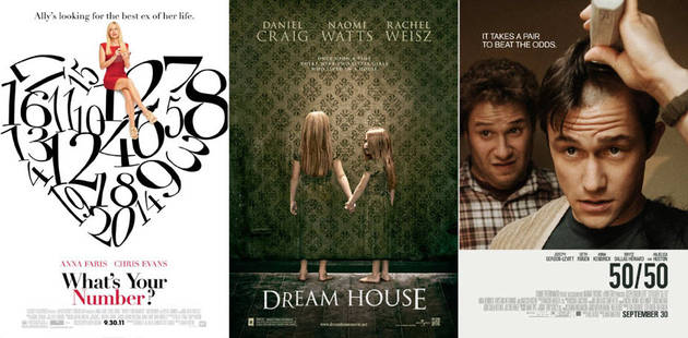 50/50, Dream House, What's Your Number?: Wetpaint Entertainment's Sexy-Not Sexy Weekend Movie Guide, 9/30