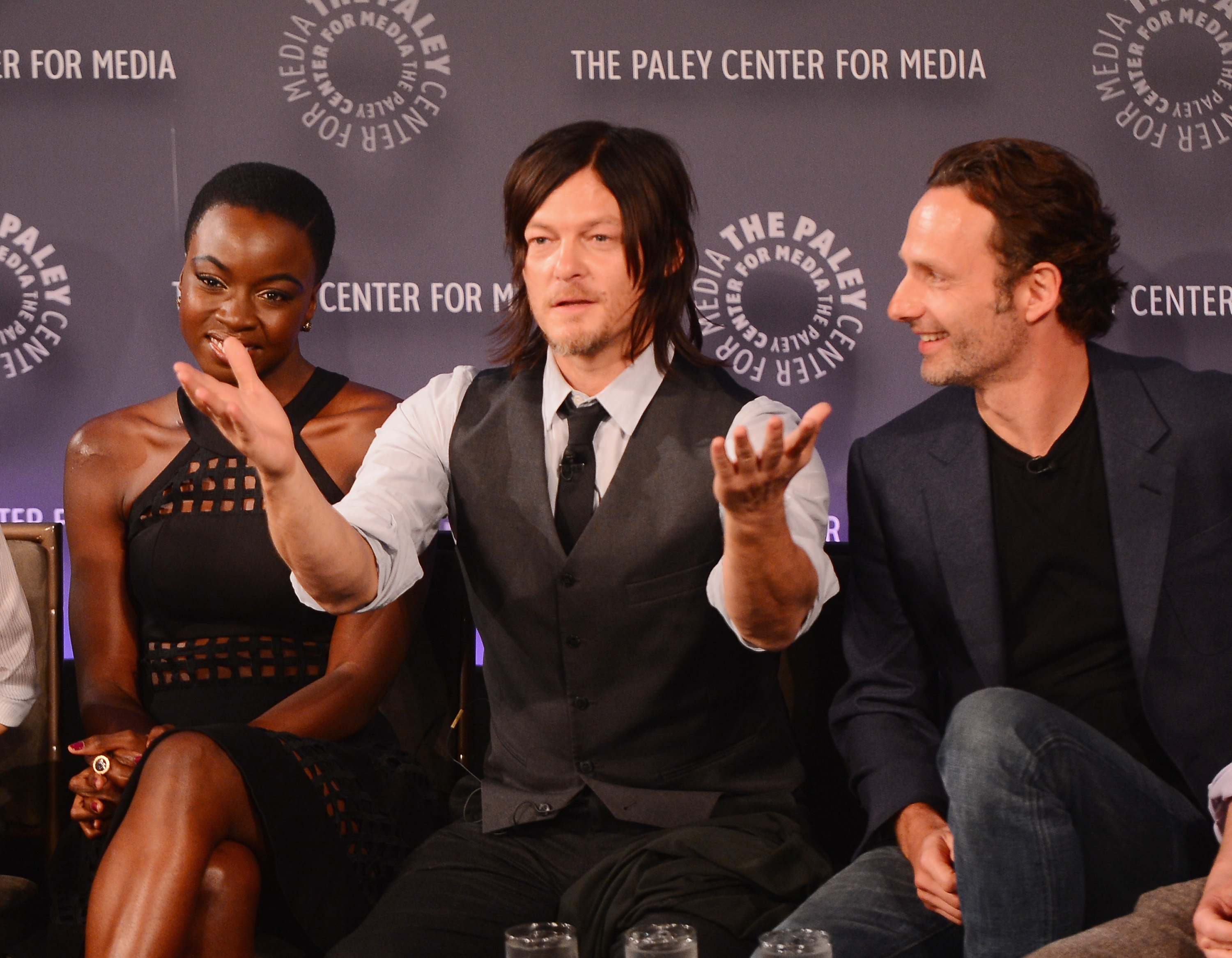 Danai Gurira, Norman Reedus, and Andy Lincoln at Palyfest New York in October 2014