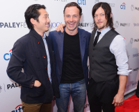 Steven Yeun, Andy Lincoln, and Norman Reedus at Paleyfest New York in October 2014