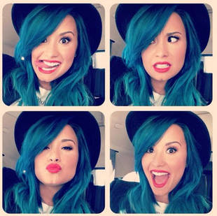 Demi Lovato Sticking With Blue Hair (PHOTOS)