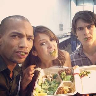 Nina Dobrev Goofs Off With Steven R. McQueen and Kendrick Sampson on Vampire Diaries Set! (PHOTO)