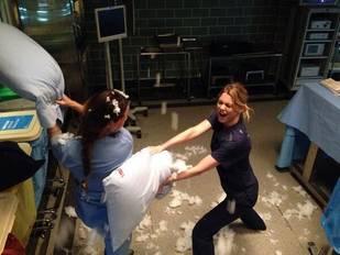 Camilla Luddington and Ellen Pompeo in Bloody Showdown on Grey's Anatomy Set! (PHOTO)