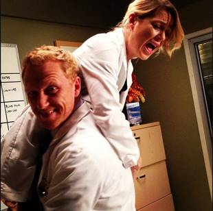 Kevin McKidd Picks Ellen Pompeo Up and Drags Her Around Set in Adorable Pic
