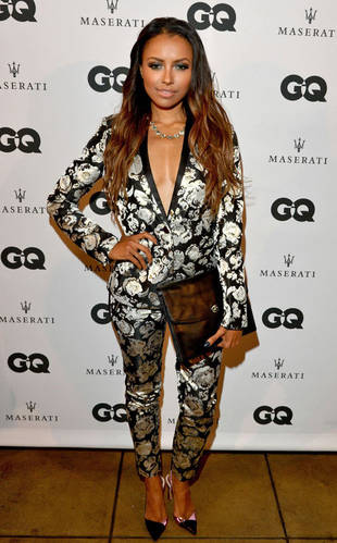 Kat Graham Rocks Major Cleavage in a Sexy Low-Cut Suit