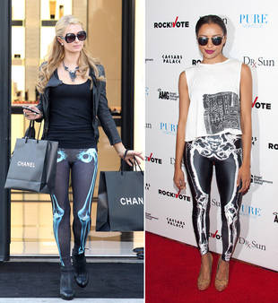 Paris Hilton vs. Kat Graham in Skeleton Leggings — Who Wore It Best?