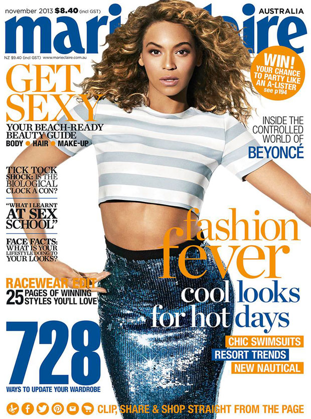 Beyonce Flaunts Her Midriff on the Cover of Marie Claire Australia