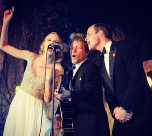 Taylor Swift Sings With Prince William and Bon Jovi at Winter Whites Gala