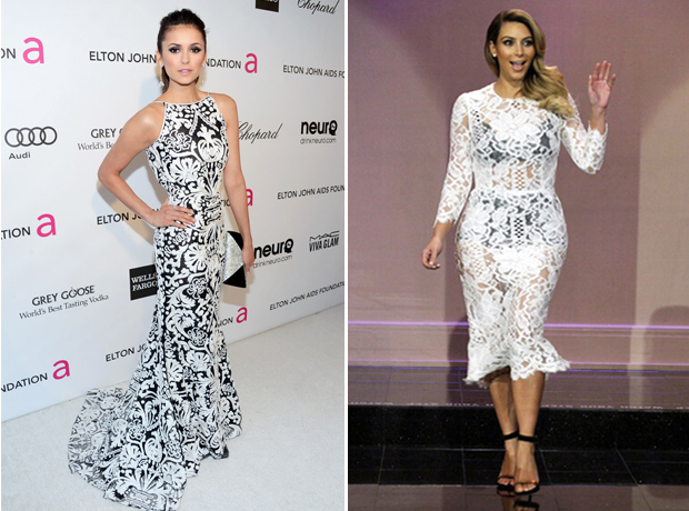 Nina Dobrev vs. Kim Kardashian: Who Rocked the Black and White Dress Better? (PHOTO)