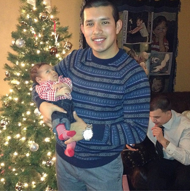Adorable Alert: Lincoln and Javi Marroquin Pose By The Christmas Tree! (PHOTO)