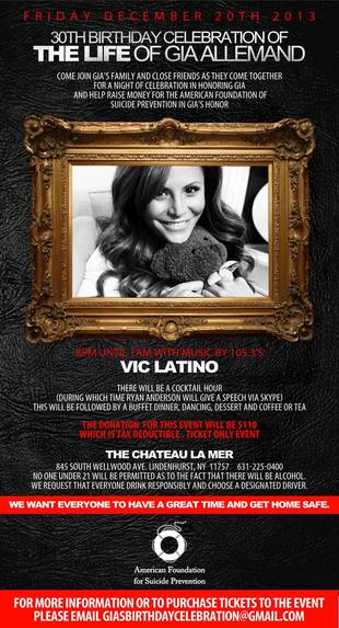 Gia Allemand's Black Tie Birthday Memorial: Will You Be There?