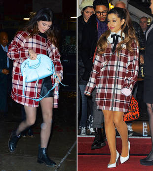 Kylie Jenner vs. Ariana Grande in Topshop Plaid Coats — Who Wore It Best?