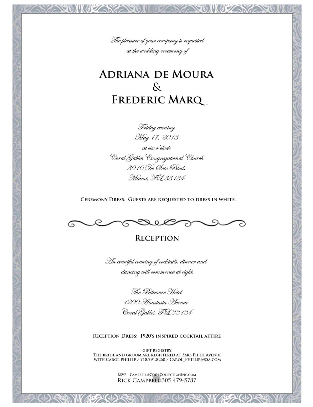 Adriana de Moura Demands Wedding Guests Wear… What? See the Invite!