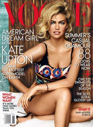 "Kate Upton Covers Vogue, Defends Sexy Curves: ""I Can't Change My Bra Size"""