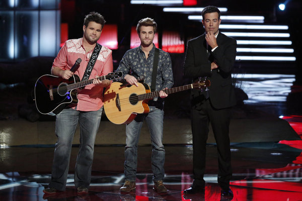 "The Swon Brothers Sing ""Seven Bridges Road"" on The Voice 2013 Live Shows, May 27"