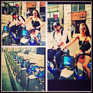 Dancing With the Stars' Maks Chmerkovskiy and Karina Smirnoff Ride Citi Bikes Together (PHOTO)