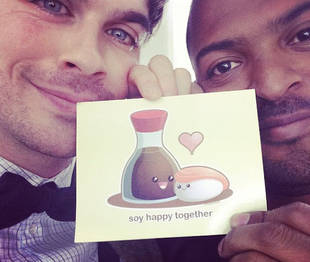 Ian Somerhalder and Noel Clarke Hug It Out on Set of The Anomaly!