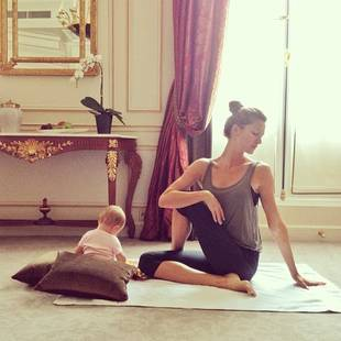 Gisele Bundchen Does Yoga at Home With Her 'Little Partner': Adorable Photo!