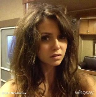 Nina Dobrev Suffers Bad Hair Day on the Set of Vampire Diaries Season 5 (PHOTO)
