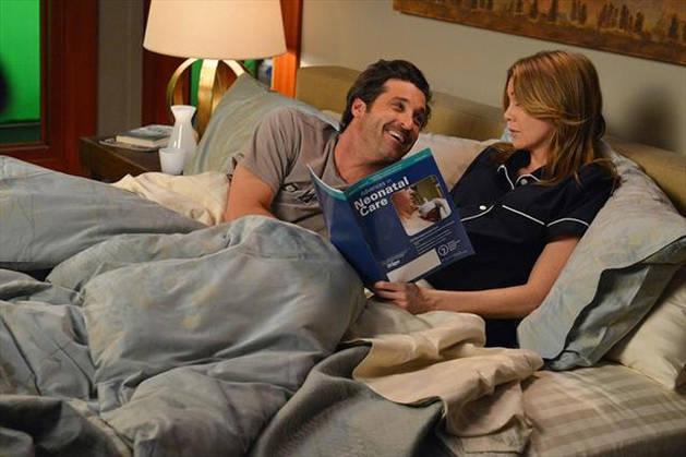 Grey's Anatomy Season 10: Ellen Pompeo and Patrick Dempsey Cozy Up at Table Read (PHOTO)