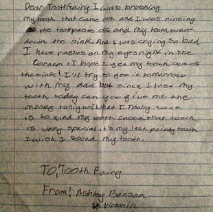 Pretty Little Liars' Ashley Benson Wrote the Cutest Note to the Tooth Fairy (PHOTO)