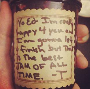 Taylor Swift Takes a Jab at Kanye West While Gifting Ed Sheeran a Jar of Jam