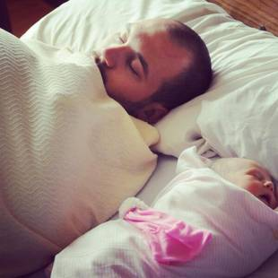 Adam Lind Sleeps With Newborn Daughter Paislee — Adorable Alert! (PHOTO)