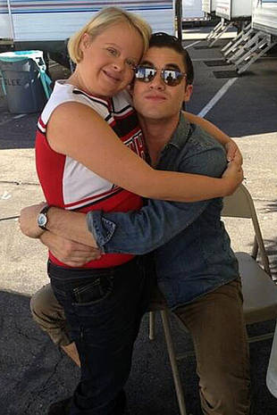 Darren Criss Hugs Glee's Lauren Potter on Set — And It's Adorable! (PHOTO)