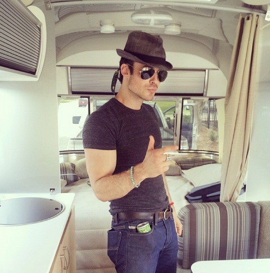 Vampire Diaries' Ian Somerhalder Strikes Sexy Pose in New Airstream Trailer (PHOTO)