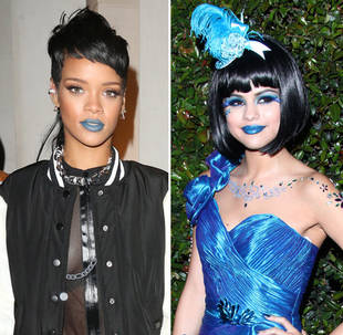 Selena Gomez vs. Rihanna: Who Rocked the Blue Lipstick Trend Best? (PHOTO)