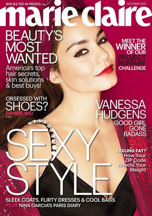 Vanessa Hudgens Shows Cleavage, Talks Babies and Selena Gomez in Marie Claire