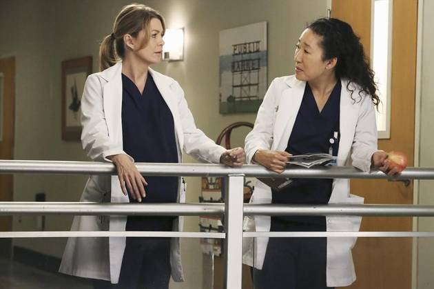 Grey's Anatomy Season 10: Meredith and Cristina Face Off in Behind-the-Scenes Photo!