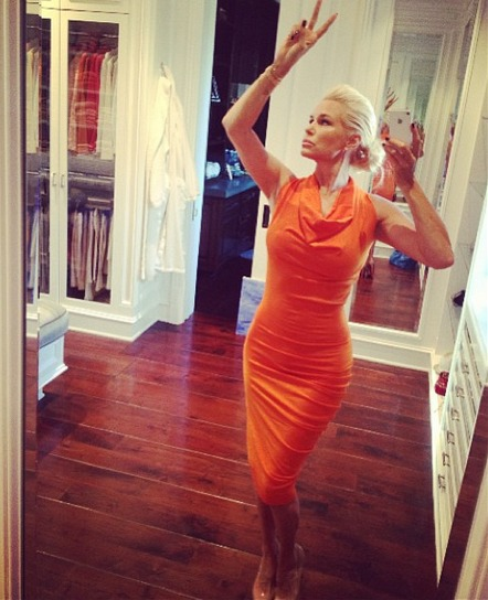 Yolanda Foster Stuns in Skin-Tight Orange Dress (PHOTO)