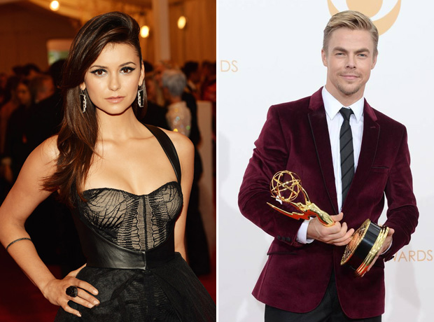 Nina Dobrev Congratulates Derek Hough For His 2013 Emmy Awards Win