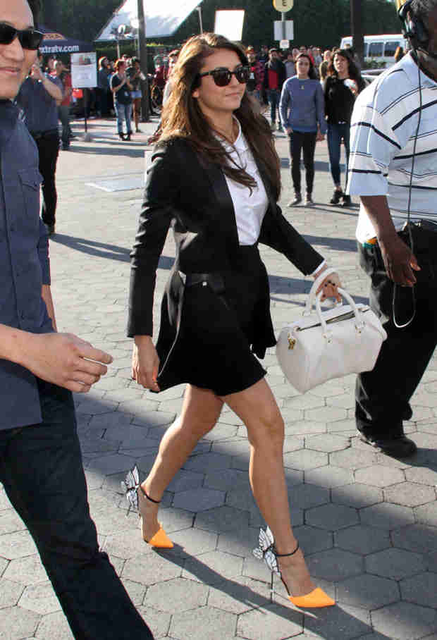 Nina Dobrev Struts Her Stuff in Sexy Butterfly Wing High Heels (PHOTO)