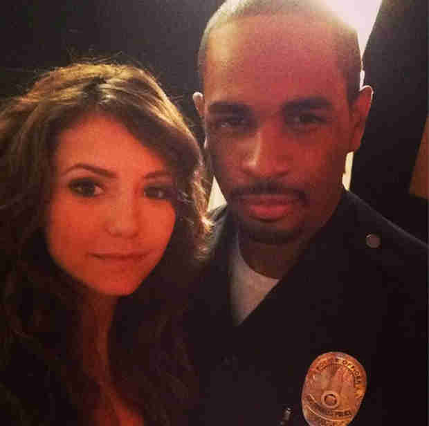 Nina Dobrev and Damon Wayans Jr. Behind the Scenes of Let's Be Cops (PHOTO)