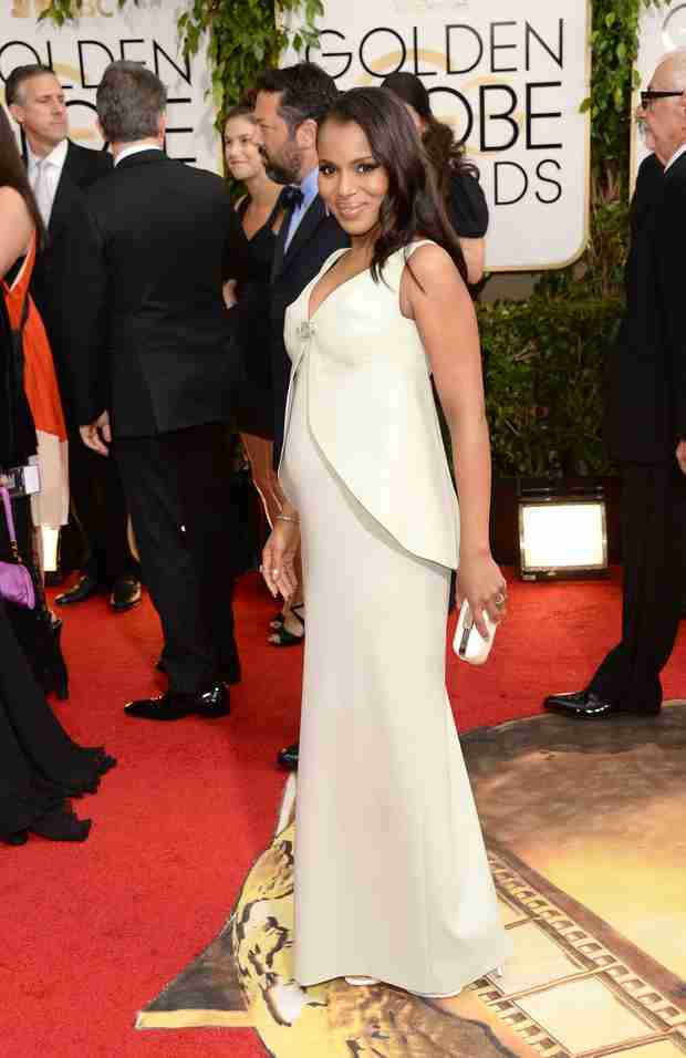 Kerry Washington Shows Off Baby Bump at Golden Globes 2014 (PHOTO)