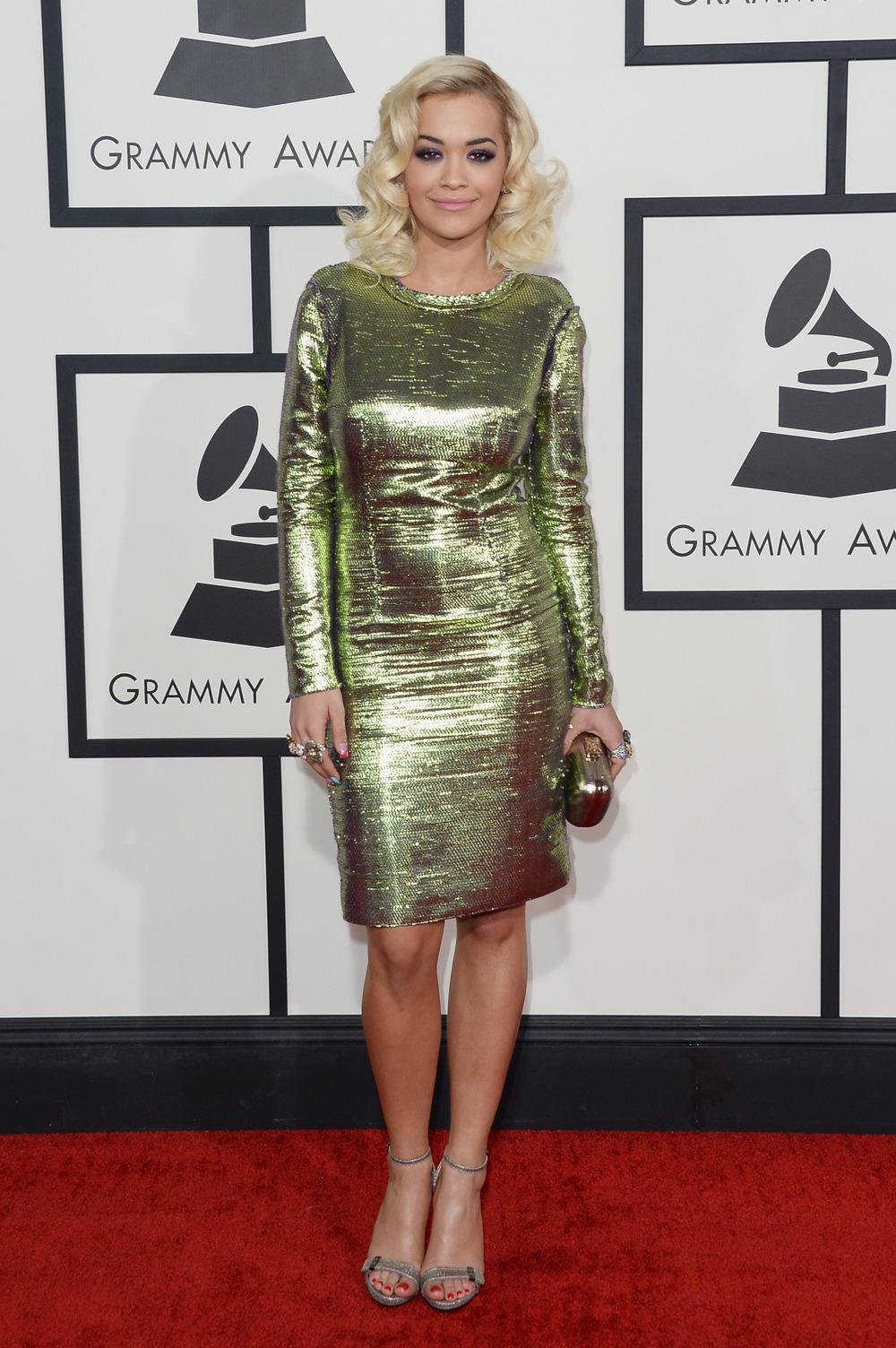 "Rita Ora Talks ""Sexy"" 50 Shades of Grey Role on Grammys 2014 Red Carpet"