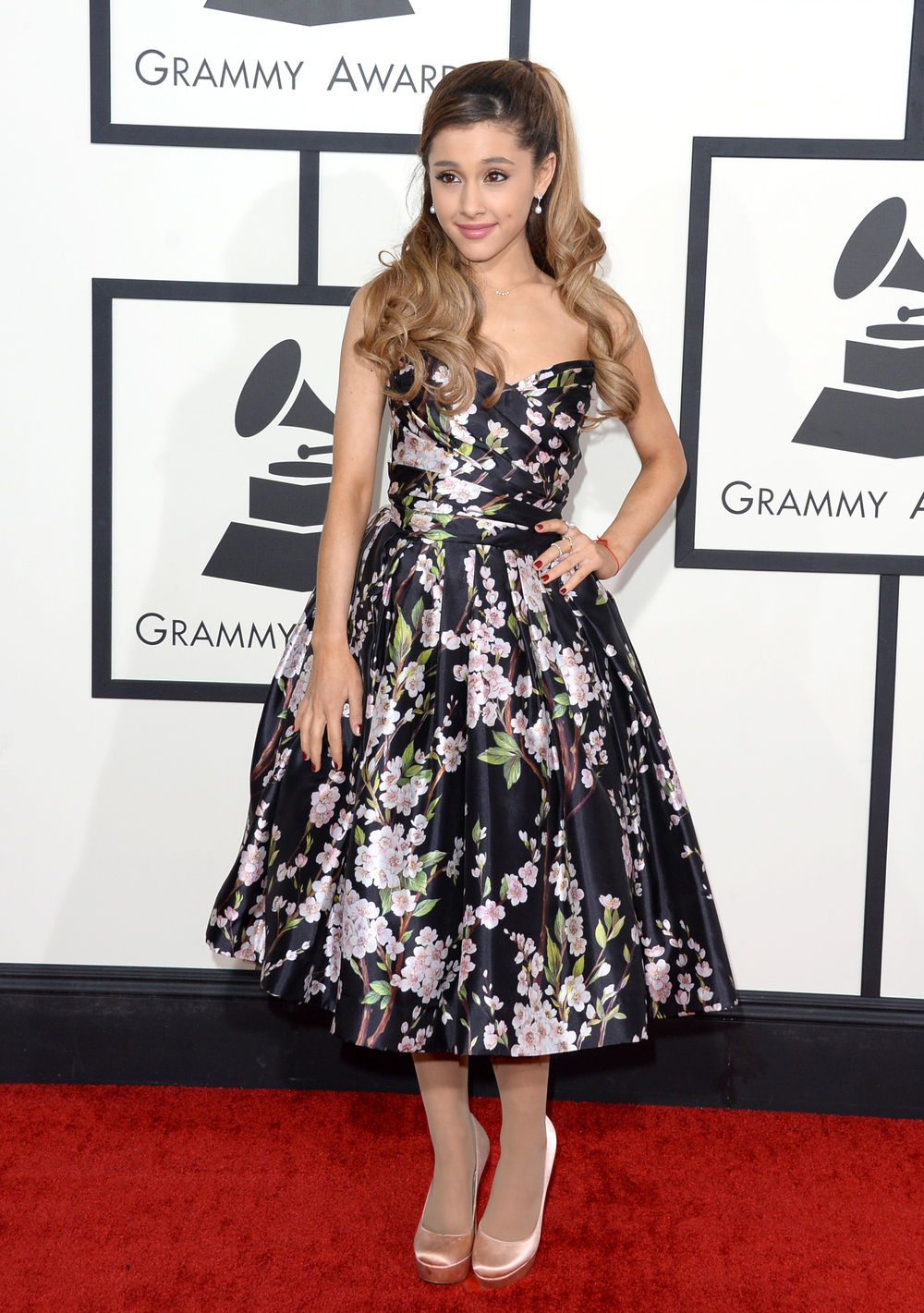 Ariana Grande Goes Flirty in Floral at Grammys 2014 — Love It or Leave It? (PHOTO)