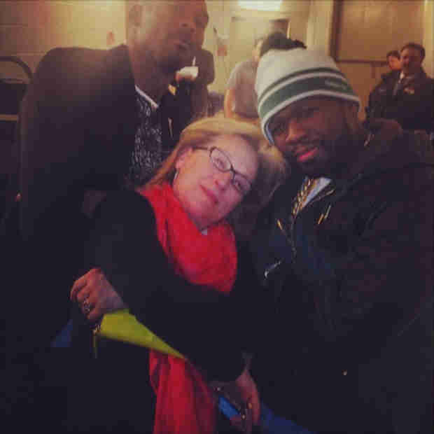 50 Cent Skips the Grammys to Hang Out With… Meryl Streep?! (PHOTOS)