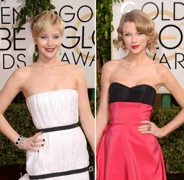 Jennifer Lawrence Almost Pushed Taylor Swift Down the Stairs at the Golden Globes!