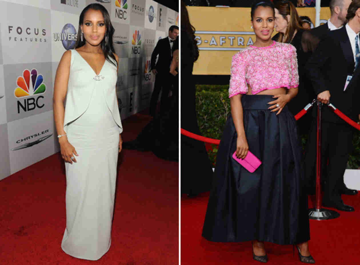 Pregnant Kerry Washington's Red Carpet Looks — Golden Globes vs. SAG Awards (PHOTO)