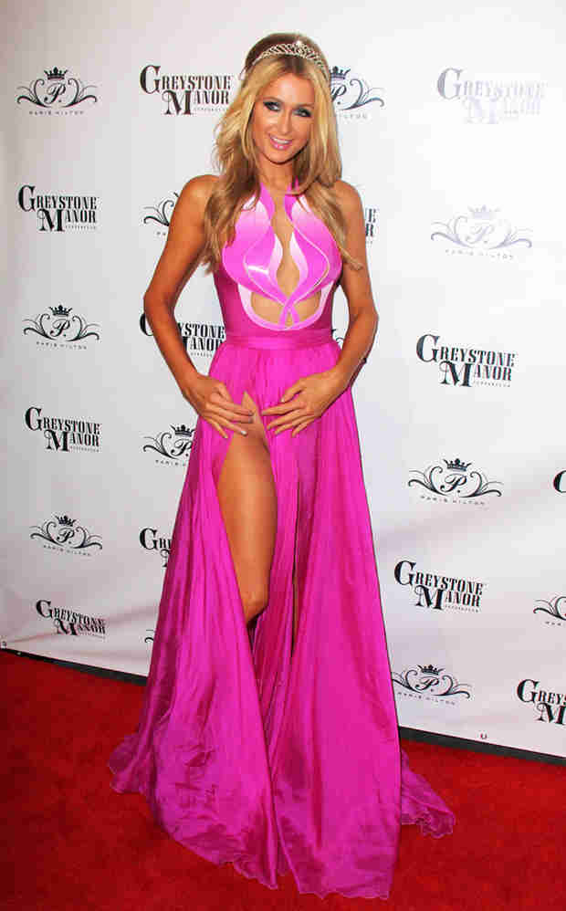 Paris Hilton Goes Commando, Suffers Wardrobe Malfunction in Thigh-High Slit Dress