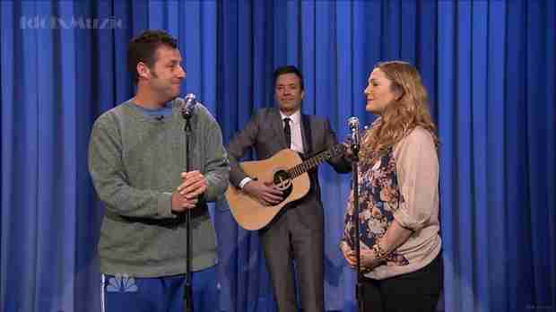 Drew Barrymore and Adam Sandler Duet on The Tonight Show With Jimmy Fallon (VIDEO)