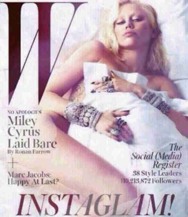 Miley Cyrus Poses Naked in Bed With Two Guys For W Magazine: See the NSFW Photo!