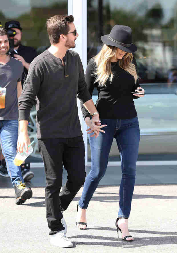 Khloe Kardashian and Scott Disick Hold Hands at a Luxury Car Dealership