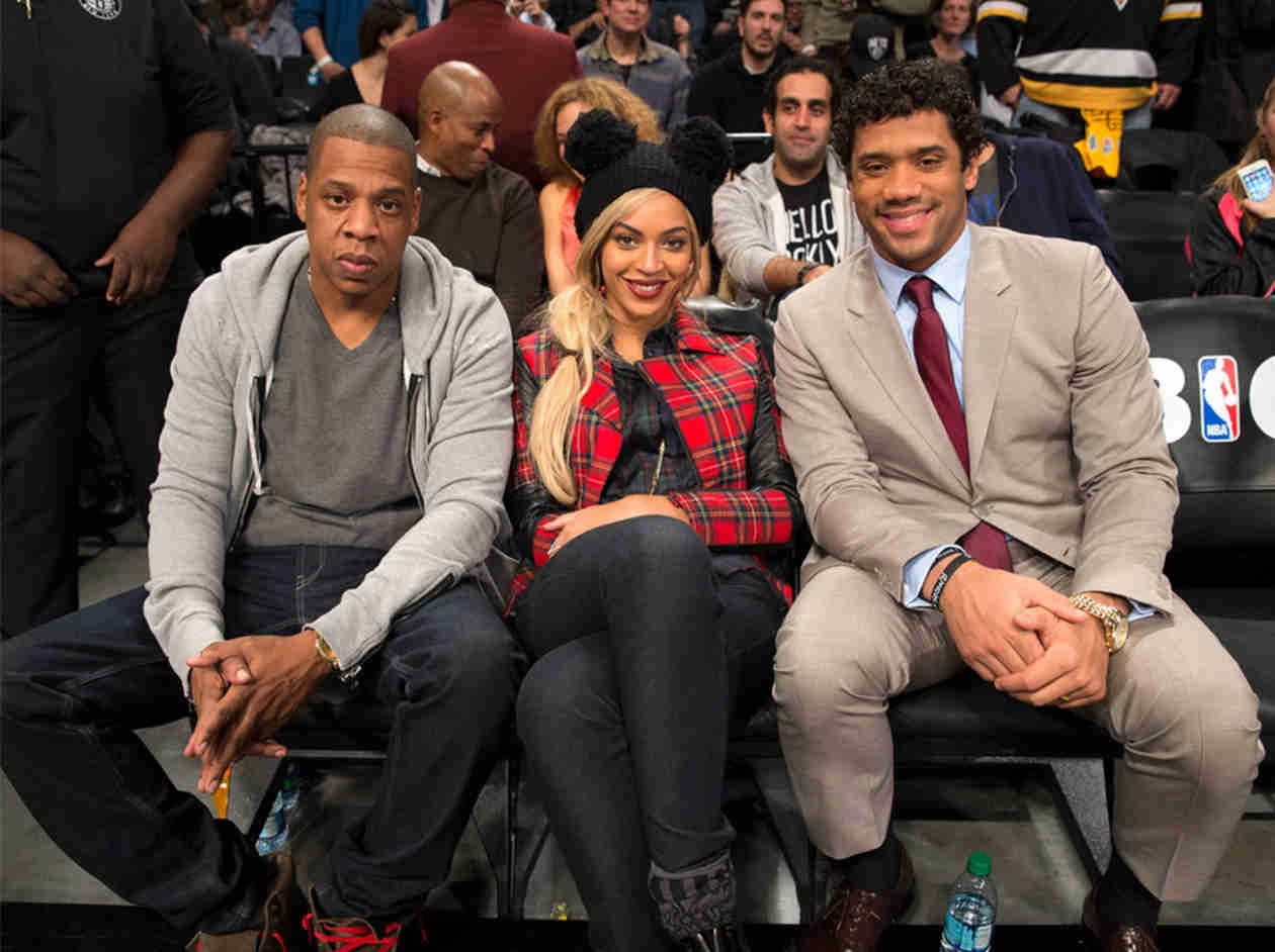 Beyonce and Jay Z Sit Courtside With Seahawks Quarterback Russell Wilson