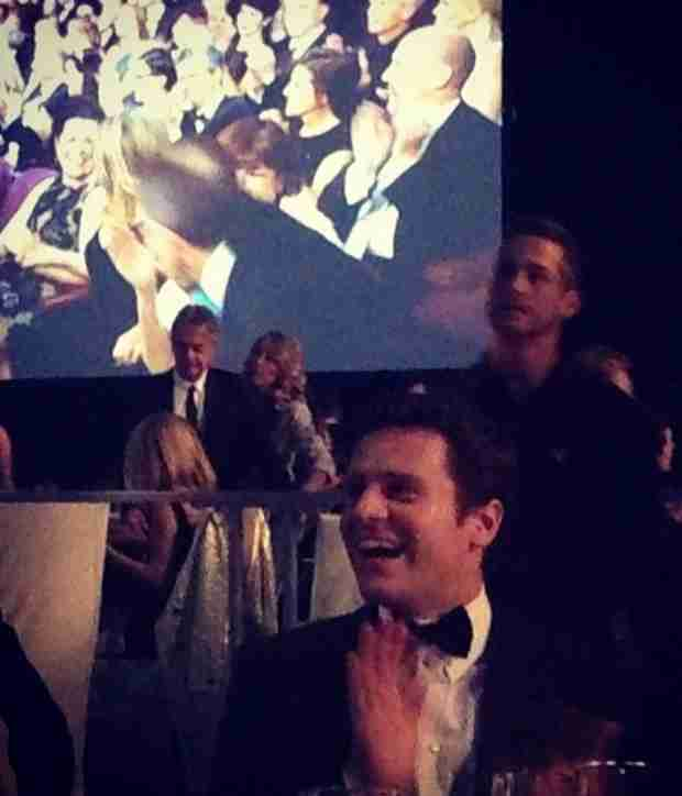 Jonathan Groff Celebrates Frozen's Oscar Win — Where's Lea Michele? (PHOTOS)