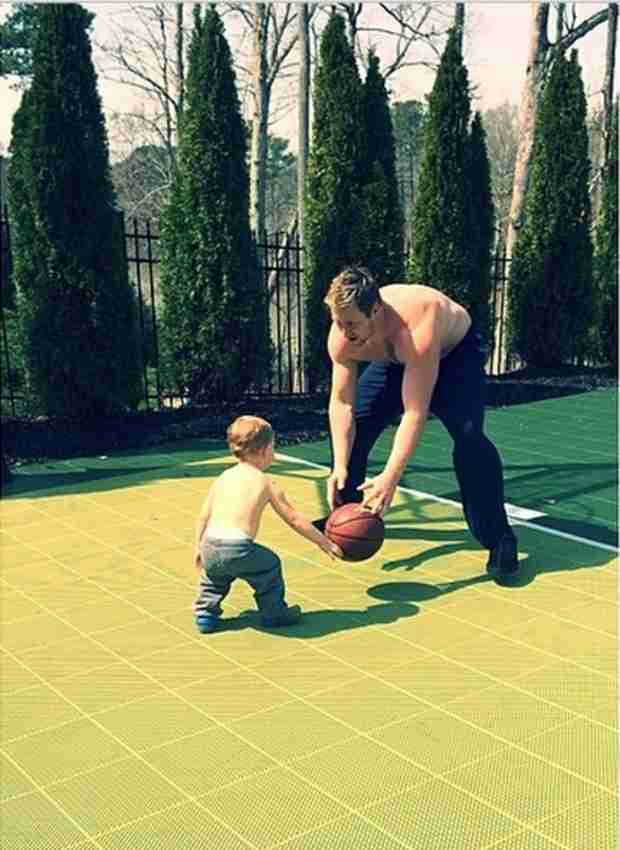 Kroy Biermann Goes Shirtless While Playing With Son KJ — Hot Dad Alert! (PHOTO)